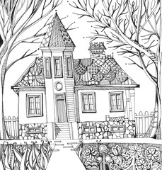 House with tower and ornamental roof in garden with flowers and trees. Black and white hand drawn illustration. Coloring book.