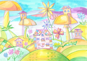 Magic town with houses on mushrooms. Drawing for children. Colorful hand drawn sketch by markers.