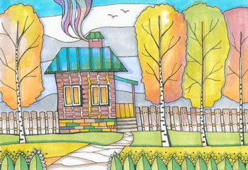 Color drawing, picturesque autumnal landscape with country house and trees. Colorful hand drawn sketch by markers and liner.