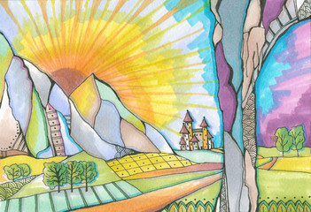 Fairyland. Magic kingdom with castle at the foot of the rocks, behind which the sun rises. Colorful hand drawn sketch by markers and liner.