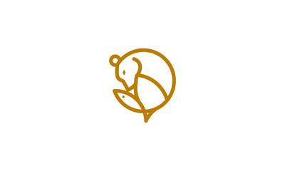 bear line art logo icon vector