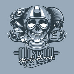 Three skulls riders in helmets and text, Old School Moto Racers. Monochromic tattoo style.