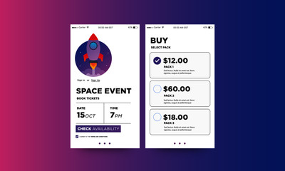Space Event App Interface Design with Rocket Vector Illustration