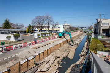 河川の護岸工事