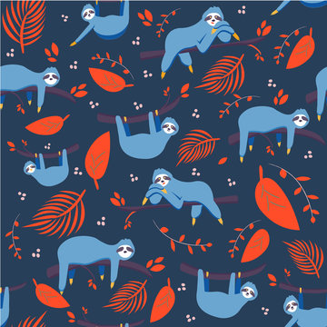 Vector seamless pattern with cute blue sloth and colorful tropical leaves