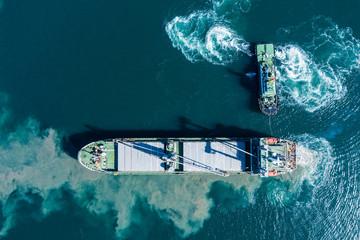 海上で行動を共にする小型船と大型船。