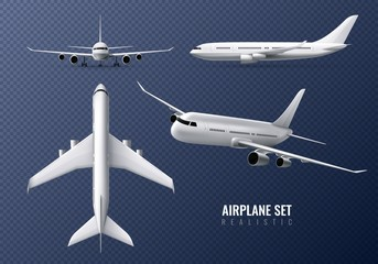 Airplane Realistic Transparent Set