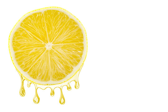 Sliced lemon with a juice dropping from it, isolated on white background