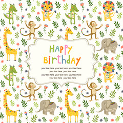 Seamless baby pattern with cute animals and toys. Illustration for kids. Children background for wallpaper, textile. Baby shower pattern or birthday greeting card.