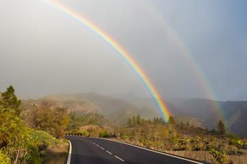 Wall Mural - Double rainbow on Tenerife island, Spain