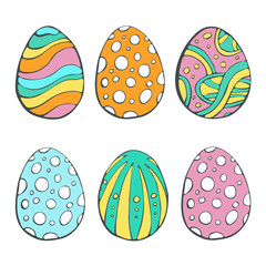 Happy Easter eggs. Vector set isolated on white background. Hand drawn doodle illustration.