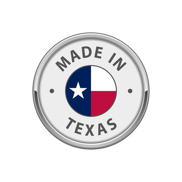 """""""Made in Texas"""" round badge with The flag of Texas"""