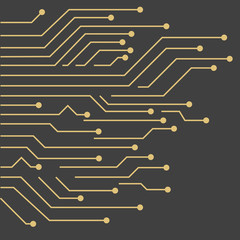 Vector Background with gold circuit board. Circuit Board Technology Concept Background.