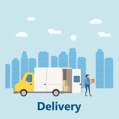 Concept delivery service, landing. Delivery truck rides on the way to the buyer. Service, delivery with a parcel box. Internet delivery, idea, vector, illustration for web sites, shops, animation