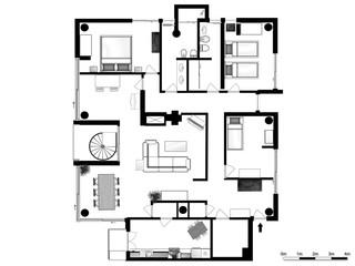 2d floor plan. Black&white floor plan.