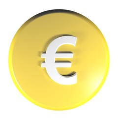 Yellow circle push button Euro currency symbol - 3D rendering illustration