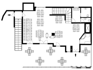 2d floor plan. Black&white floor plan.