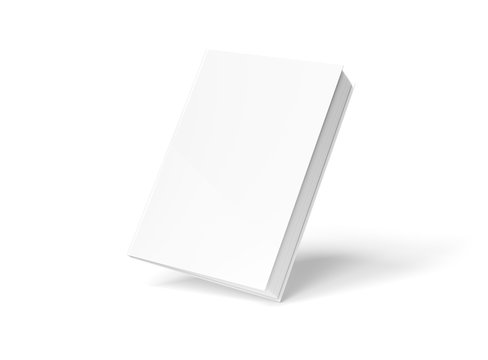 Blank hardcover book mockup floating on white 3D rendering