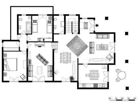 Floor plan. Interior. 3d floor plan for real estate. Home plan. 3D design of home space. Color floor plan.