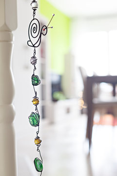 Decoration jewelry detail - wire wrap necklace with Aventurine and Amber gemstones