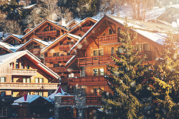 chalets at Meribel ski resort in Alps, France