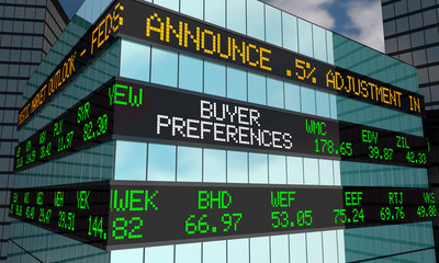 Buyer Preferences Stock Market Ticker Wall Street Building 3d Illustration