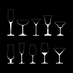 set of wine glasses. vector illustration on black background