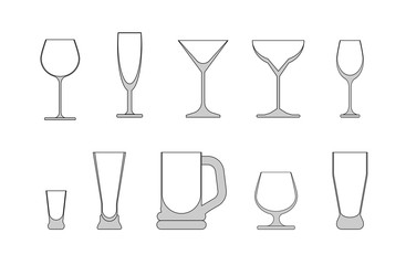 set of wine glasses. vector illustration on white background