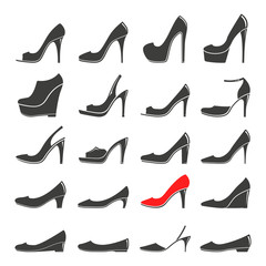 Monochrome vector illustration of a set women's shoe, isolated on a white background.