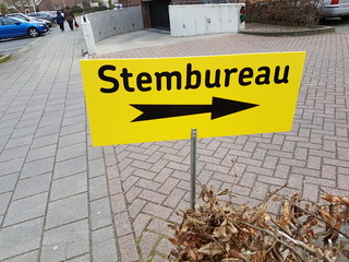 Direction sign to polling station (stembureau in dutch) during city counciel elections in the Netherlands 2018