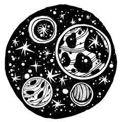 Naive kawaii night space composition.