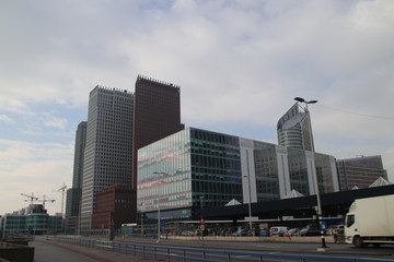 busplatform with office skyline and Metro station on Den Haag centraal station in the Netherlands