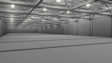 Empty commercial warehouse with bright lamps