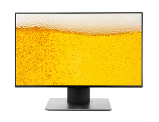 Television or pc monitor computer destop with beer background isolated on white photo object design