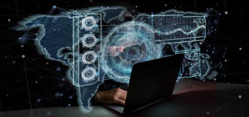 Hacker Man holding a Technology interface 3d rendering