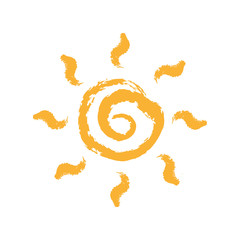 Sun icon. Vector and illustration symbol isolated on white background.