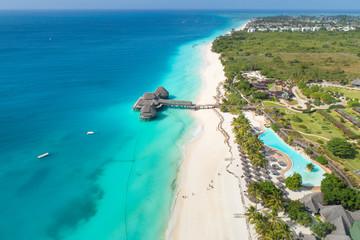 Papiers peints Zanzibar aerial view to paradise beach on Zanzibar