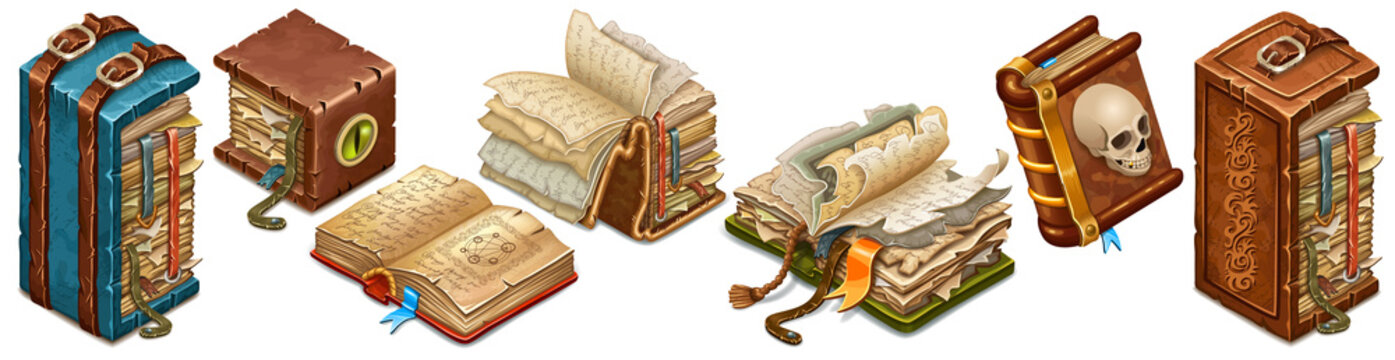 Set isometric old books of magic spells and witchcraft with torn pages for computer game in cartoon style. Leather binders decorated belt. 3d isolated vector illustration.