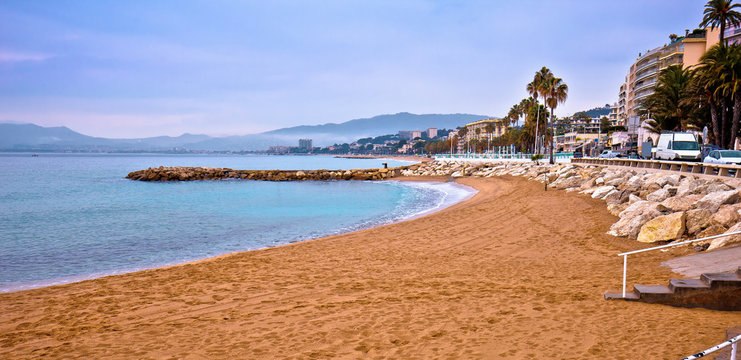 Cannes sand beach and palm waterfront panoramic view