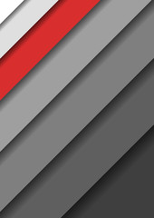 Paper cut banners with 3D abstract background with gray monochrome layers  sheets one over the other diagonally shadows and one red band. Vector illustration.