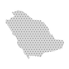 Saudi Arabia map abstract schematic from black lines repeating pattern geometric background with rhombus and nodes from rhombuses. Vector illustration.