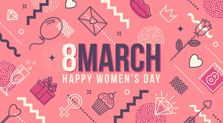 8 March International women's day greeting card - Vector illustration.