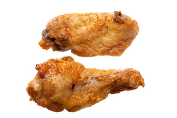 fried chiken wing on white
