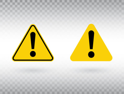 Warning symbol set. Attention button. Black exclamation mark in yellow triangle isolated on transparent background. Warning sign. Exclamation mark icon in flat style. Vector illustration