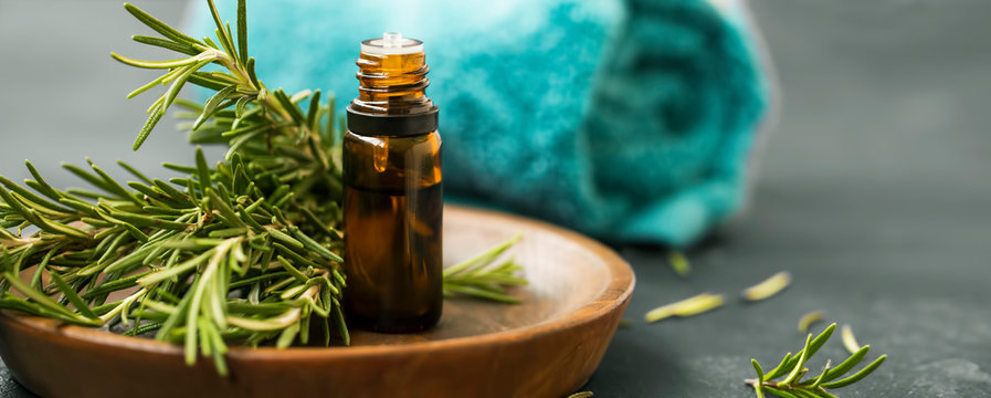 Spa still life with rosemary oil