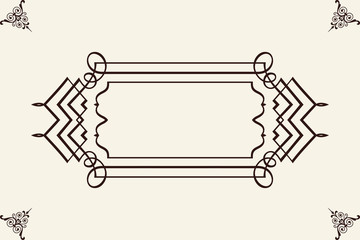 Vintage frame with ornament. Greeting card. Template for your design