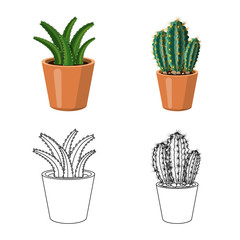 Vector illustration of cactus and pot symbol. Set of cactus and cacti stock vector illustration.