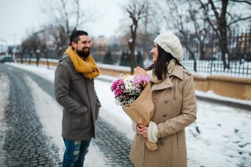 happy couple in winter park
