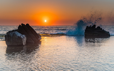 Sunrise Seascape, Splash and Rocks