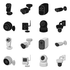 Vector design of cctv and camera icon. Collection of cctv and system stock symbol for web.